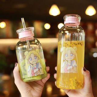 網紅款 動漫圖案 美少女吸管杯/月野兔婚禮小物/辦公室用/旅行手拿杯/雙蓋玻璃杯