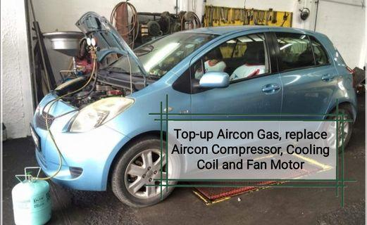 Top up aircon gas, replace cooling coil, Compressor, fan motor, condenser and belt