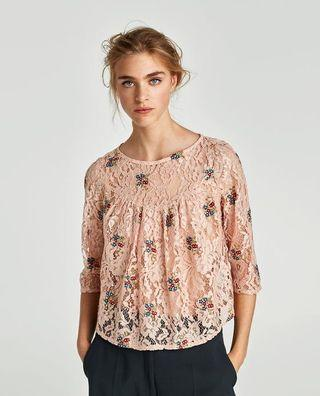 [NEW] Zara Lace Top with Floral Embroidery (L)