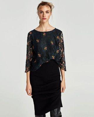[NEW] Zara Lace Top with Floral Embroidery (S)