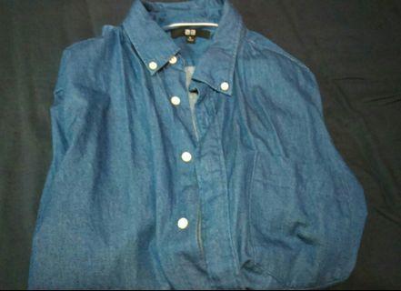 Uniqlo藍色棉襯衫
