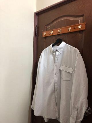 韓製車線白襯衫