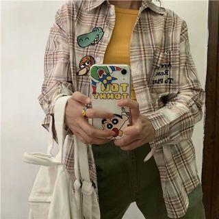 寬鬆復古刺繡格子襯衫