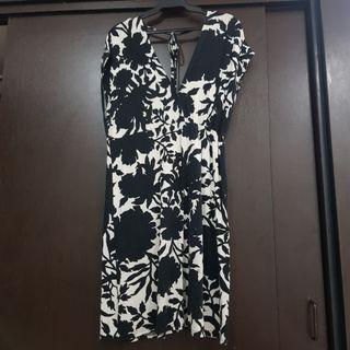 Floral Black and White Low Back Dress
