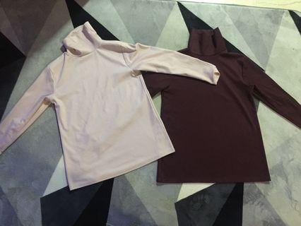 Turtleneck Top (Maroon and Dusty Pink) Rm40 set