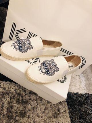 KENZO Canvas tiger head 白色刺繡皮革草編鞋