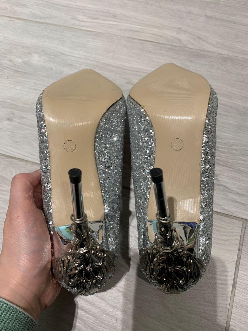 銀色高跟鞋 婚鞋 (全新)未穿過