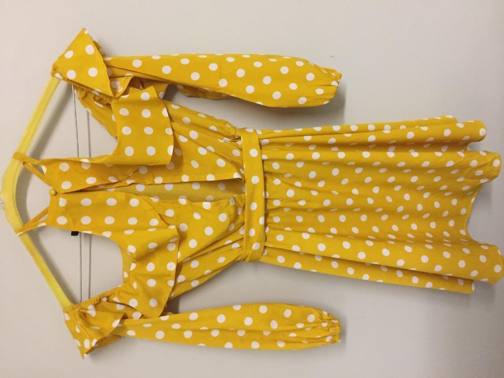 Boohoo Yellow Polkadot Halter Bubble Sleeve Above Knee Ruffle Dress with Waist Tie