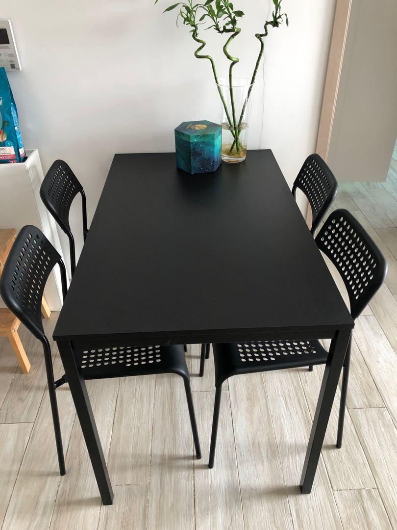 Dining Table With 4 Chairs Ikea Tarendo Adde Furniture Tables Chairs On Carousell