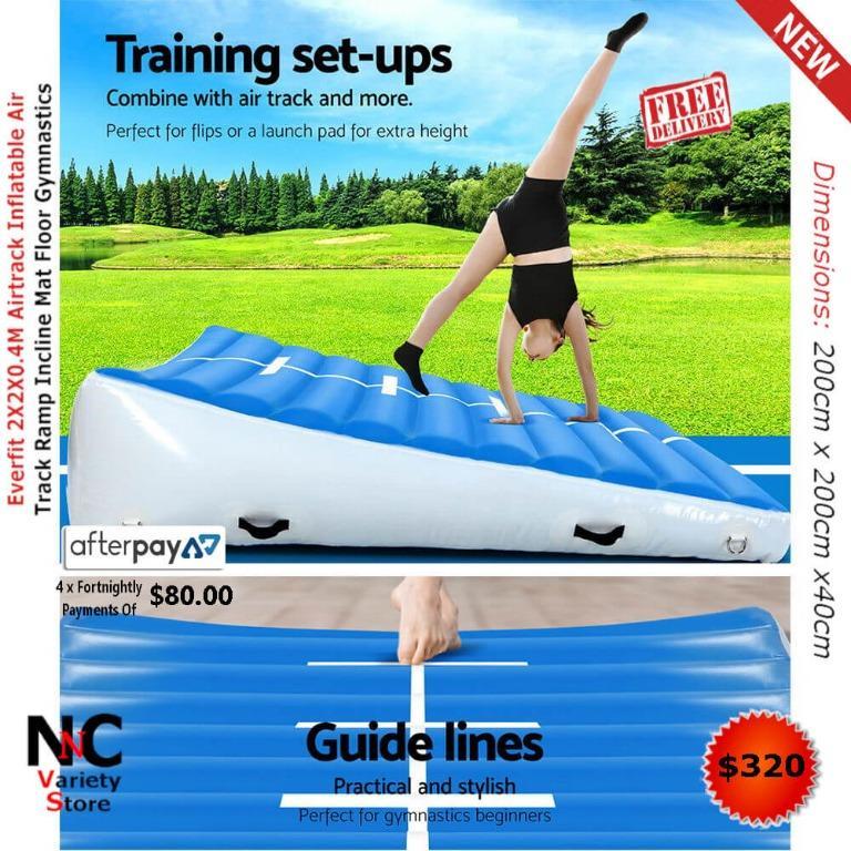 Everfit 2X2X0.4M Airtrack Inflatable Air Track Ramp Incline Mat Floor Gymnastics