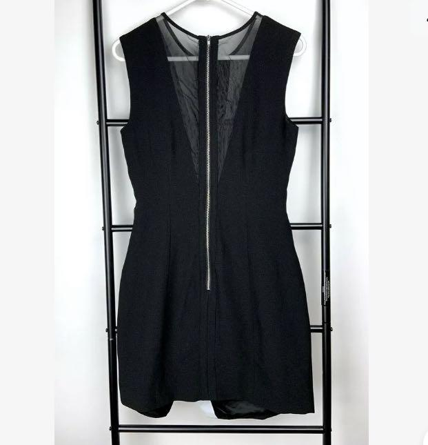 Finders Keepers S black basic mesh asymmetric dress overlay club party