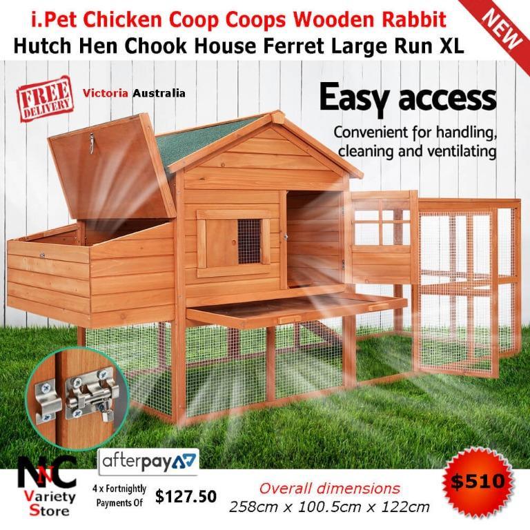 i.Pet Chicken Coop Coops Wooden Rabbit Hutch Hen Chook House Ferret Large Run XL