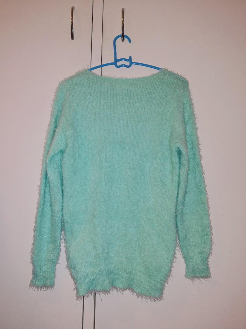 Japanese Mint Green Fluffy Jumper Sweater with Pearls