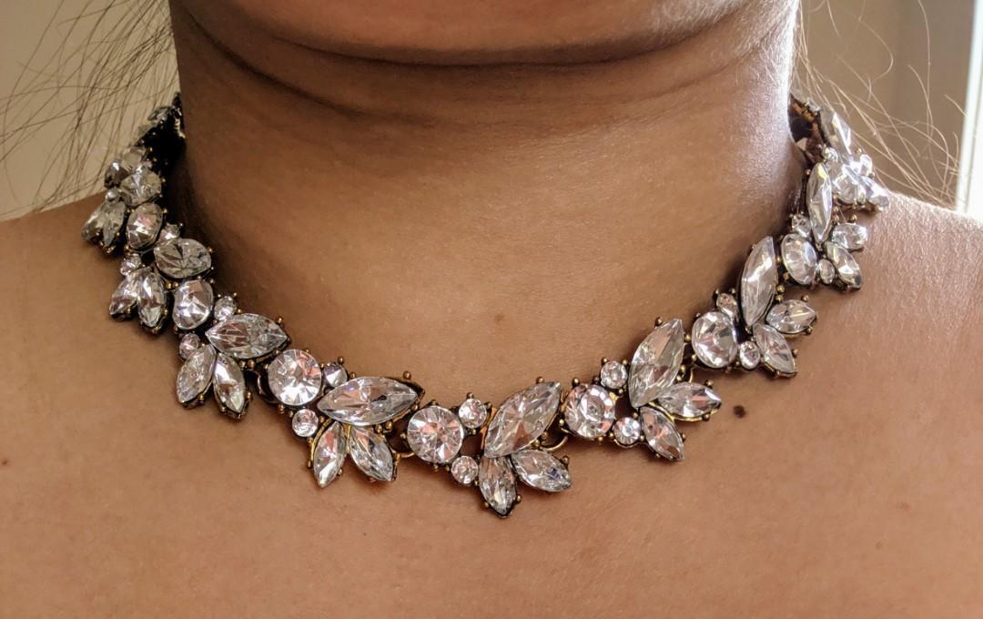 Leaf Diamond choker for wedding/great Gatsby party