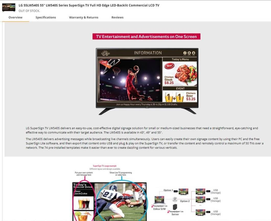 LG 55inch led TV 55LW540S, Toys & Games, Video Gaming