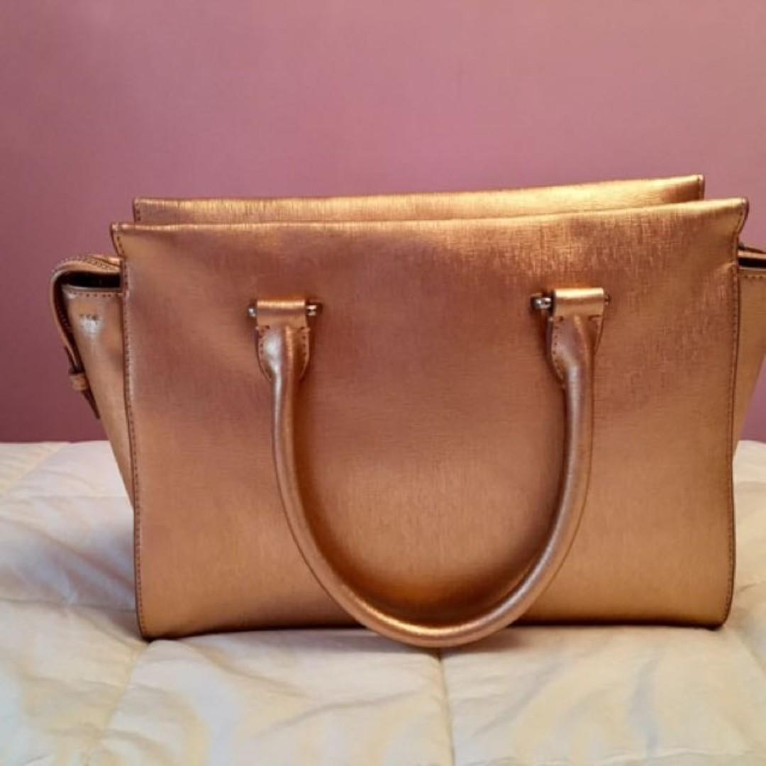 New Vince Camuto 'Thea' Gold Satchel w/ Cross Body Strap