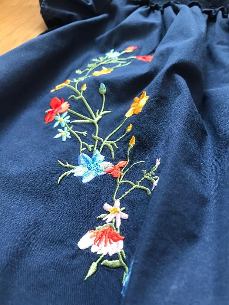 Off Shoulder Embroidered Resort Wear