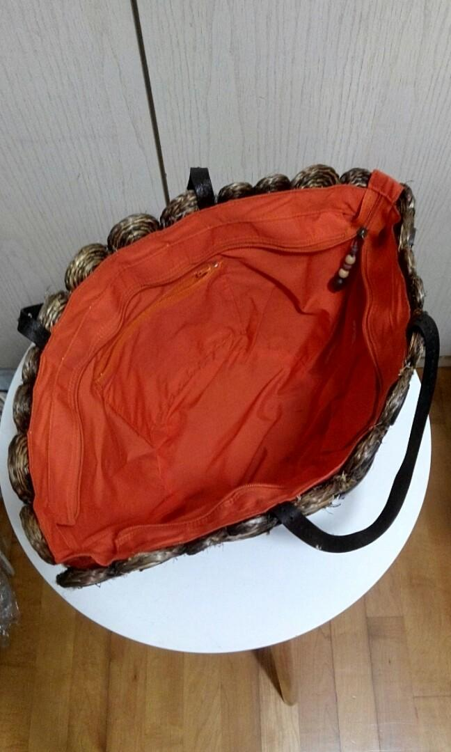 Pedder Red Straw bag 大型草織手挽袋