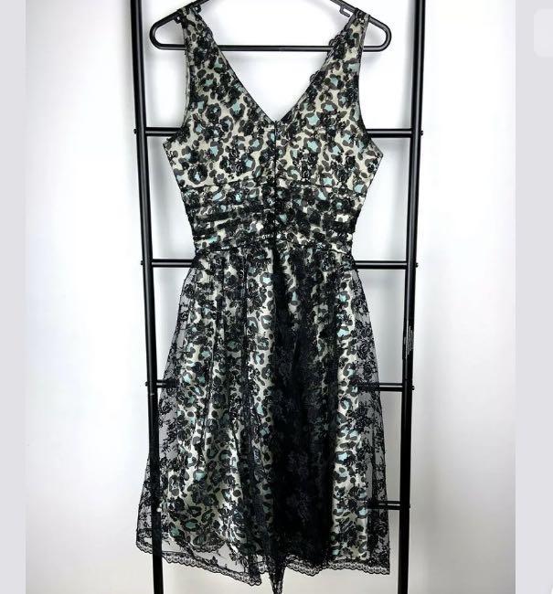 Review 8 black beige gold leopard lace fit flare dress vintage party cocktail