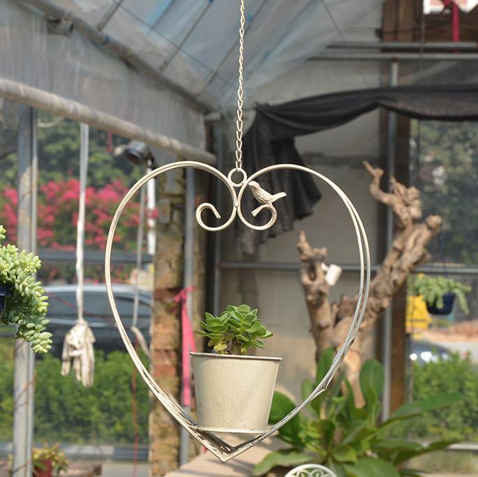 Shabby chic rustic Hanging heart shape cast iron planter pot