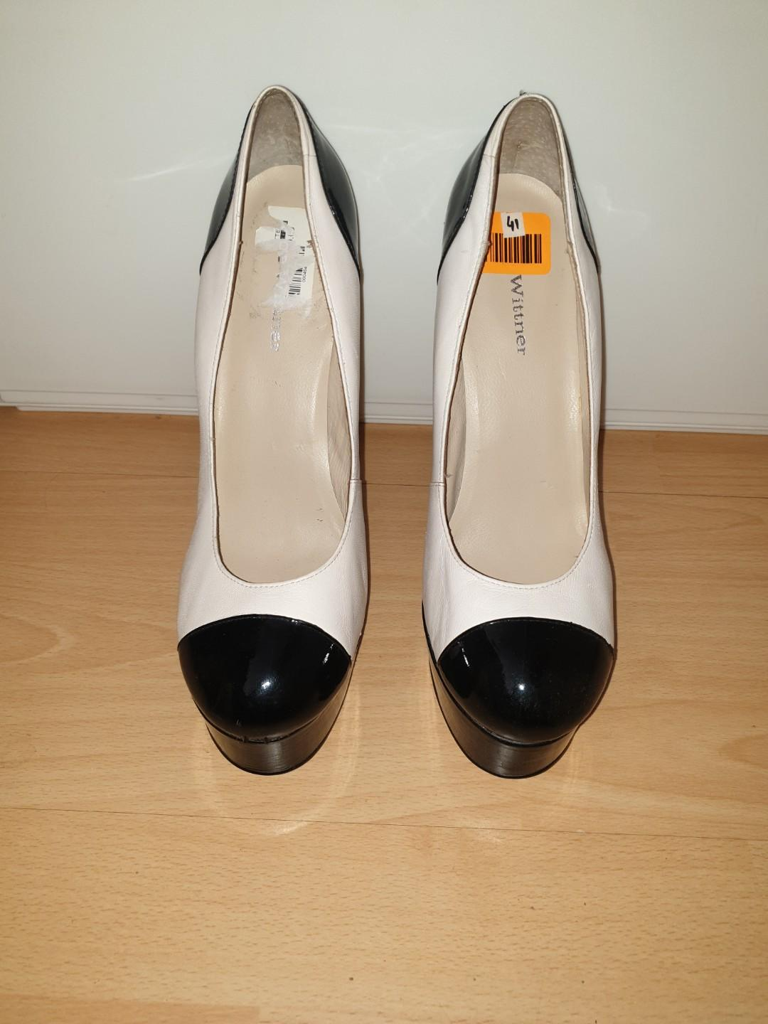 Size 10 - Cream Leather with Black Pleather accent Stilettos