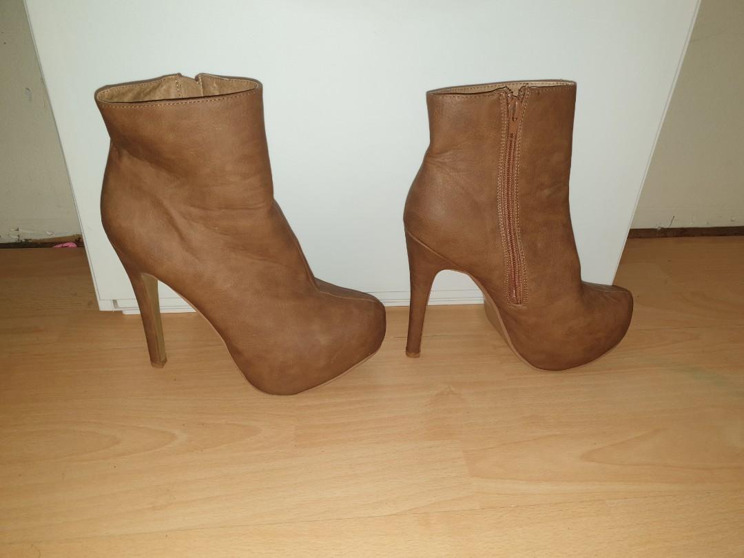 Size 7 - Tan/Brown Soft Pleather Platform Stilettos Boots