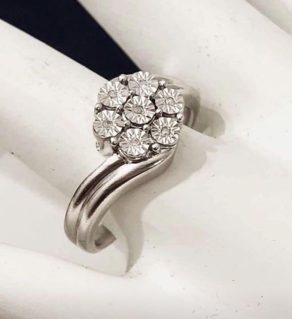 Sterling Silver Ladies Diamond Ring * Limited Quantities *Lowest Pricing