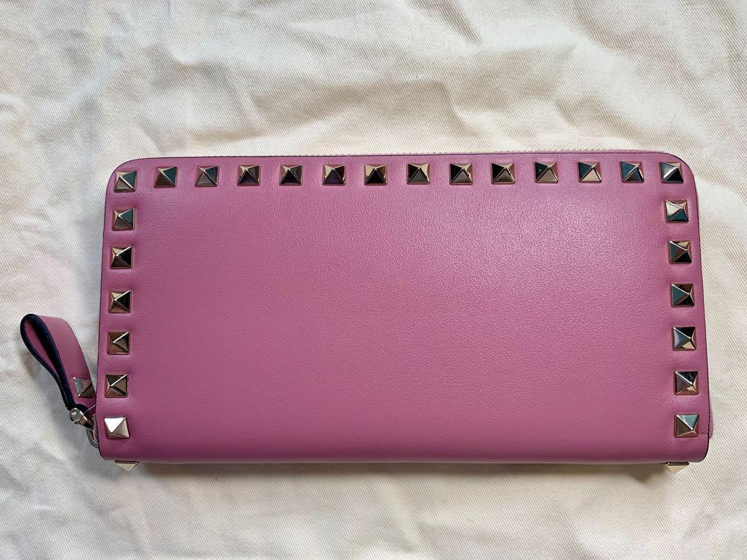 Valentino Rockstud Zip Around Leather Continental Wallet