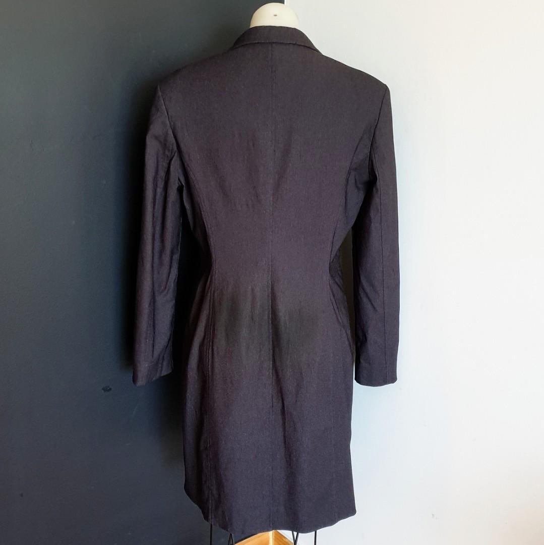 Women's size 12 'PORTMANS' Gorgeous black  long jacket/light coat - AS NEW