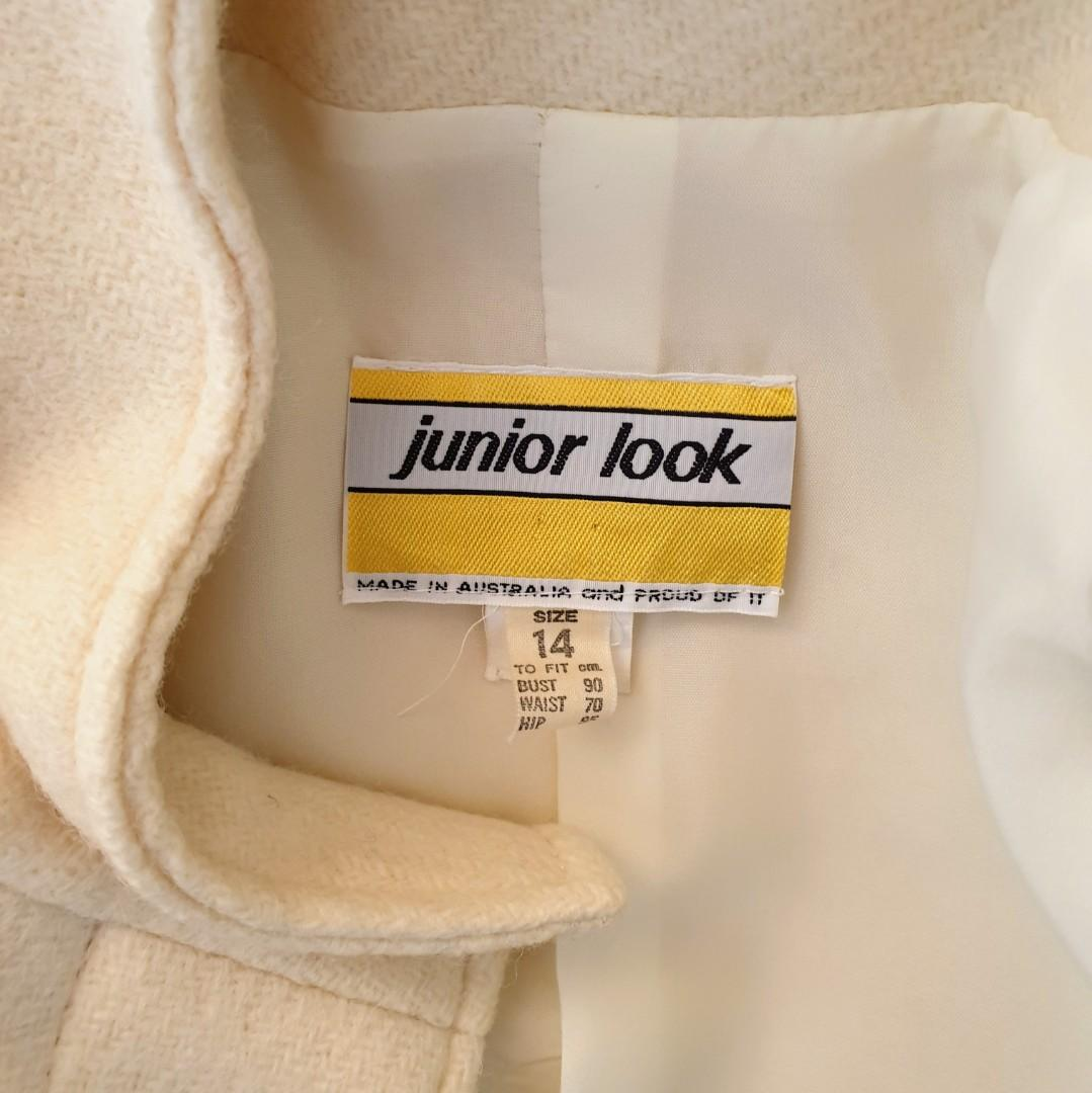 Women's size 14 'JUNIOR LOOK' Gorgeous beige woolblend funnel neck coat- GUC