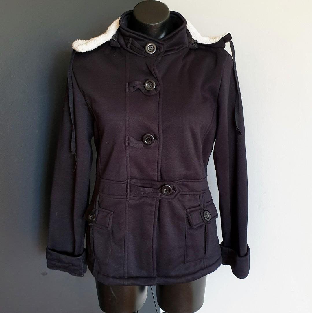 Women's size 14 'SWALOSKY' Gorgeous black jacket with removable hood - AS NEW