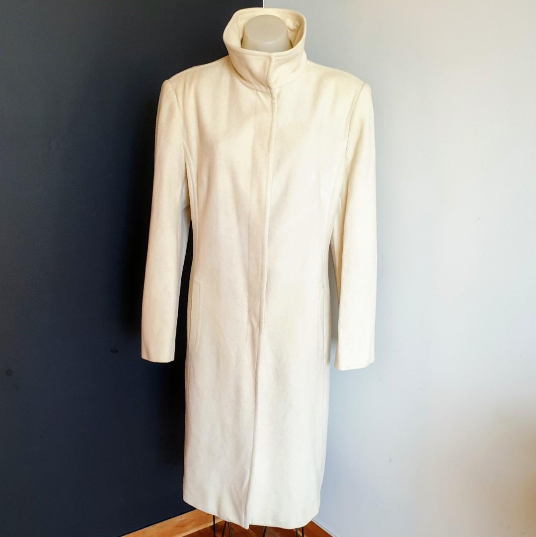 Women's size 16 'NEXT' Gorgeous beige funnel neck midi woolblend coat - GUC