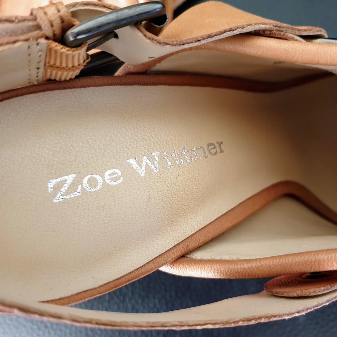 Women's size 40 = 9 'ZOE WITTNER' Stunning tan leather platform mule heels - EUC