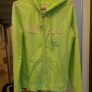 (含運)Hollister螢光綠連帽外套