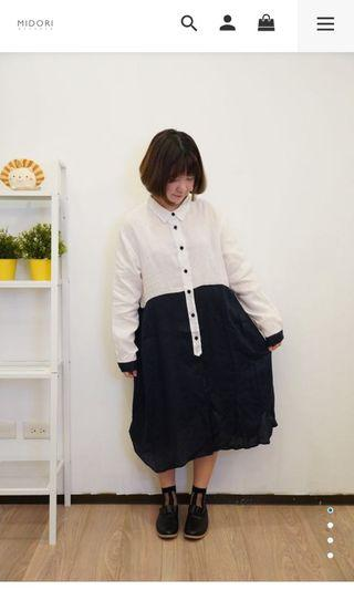 Midori 馬來膜黑白拼接襯衫洋裝