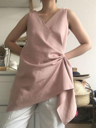 Pink ruched blouse top