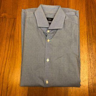 Hugo Boss Men's Shirt (Size 39) - Blue Checkered