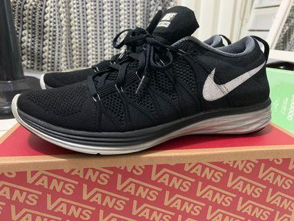 US 10 二手 Nike Flyknit Lunar 2代 黑底白勾 編織鞋 lunar中底