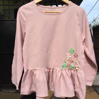 Saloma Top Blouse Beads Flower Blouse Ruffle Pink