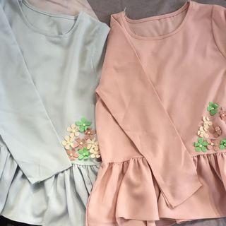 FREE POSTAGE with BUY 2  Beads Flower Blouse Ruffle