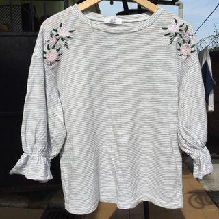 Embroidery Stripe blouse Top