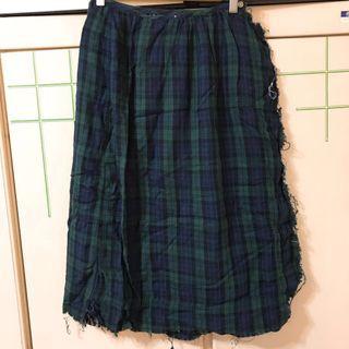 日系森林系綠格紋一片裙
