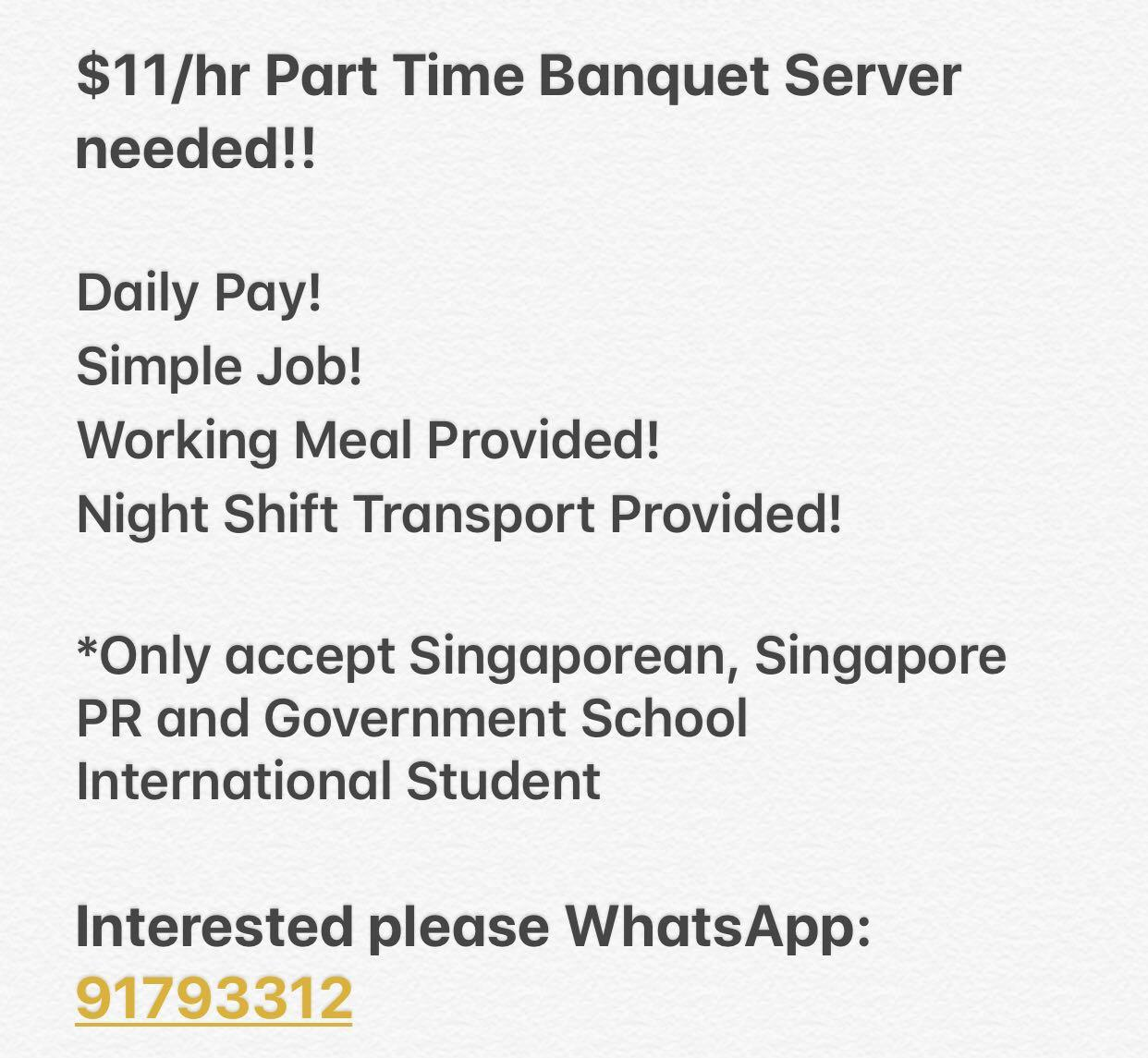 $11/hr Daily Pay! Part-time Hotel Waiter Wanted!!! , Jobs