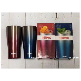 ✅On Sale【Red+Blue】THERMOS膳魔師不銹鋼真空冰沁杯JDE-420C-SP-R紅+JDE-420C-SP-BL藍