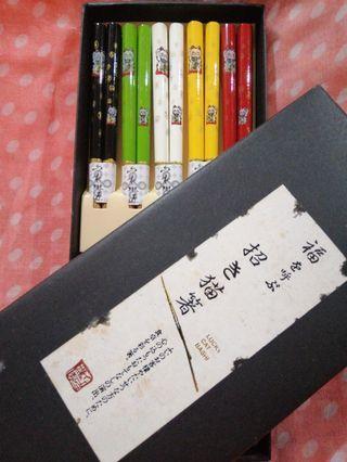 Lucky Cat Bashi Wooden Chopsticks