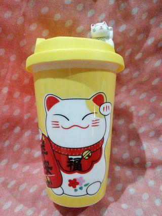 Lucky Cat Ceramic Mug Yellow Colour ( 平安 ping an = Peaceful, Safe and Sound )