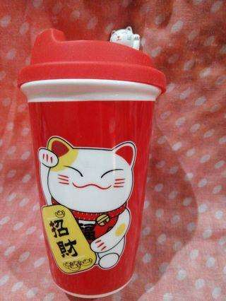 Lucky Money Cat Bright Red Ceramic Mug ( 招财 Zhao Cai  = Attract Wealth and Money )
