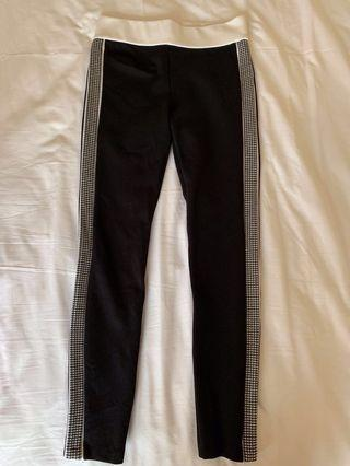 Zara Black Leggings (with houndstooth stripe)