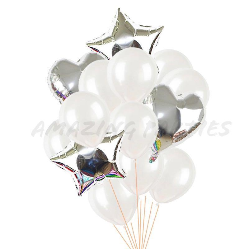 14 pc Silver Heart and Star Balloon Set
