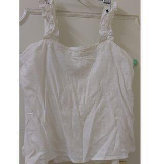NET 白色可愛 花紋細肩帶 上衣